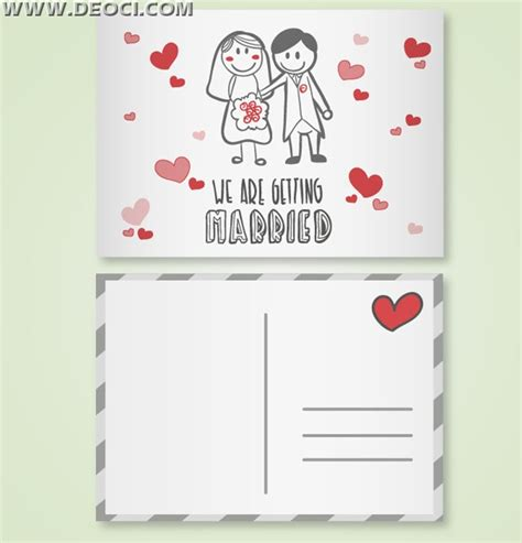 Romantic cartoon wedding invitation card design template