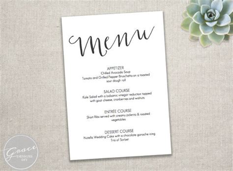 free printable wedding menu template 23 event menu templates