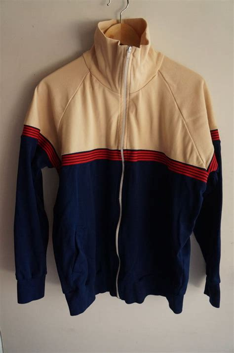 vintage 70 s tracksuit top blue medium
