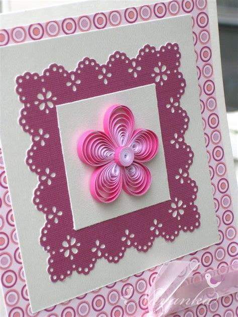 Greeting Card Using Quilling Paper - beautiful paper quilling greeting card in shades of pink