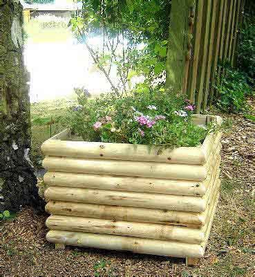 cedar wood log planter