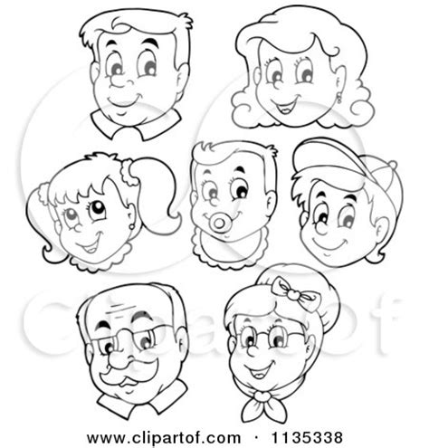 coloring pages about family members cartoon of outlined happy family faces royalty free