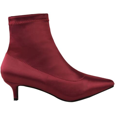 womens low kitten heel ankle boots stretch satin