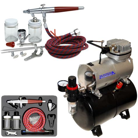 complete paasche vl set airbrushing system with a master tc 20t air compressor with air storage tank