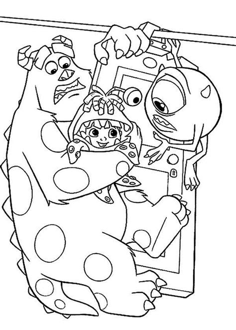 boo monsters inc door coloring coloring pages