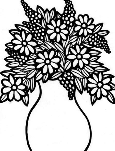 free coloring pages of a vase with flowers