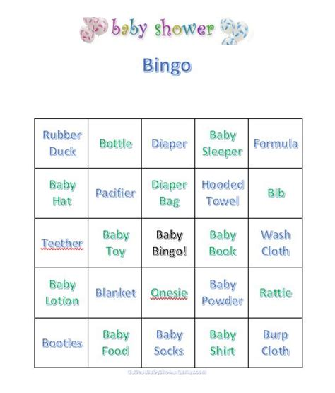 baby bingo template printable choosing baby shower baby shower