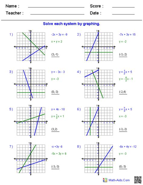 Solve Each System By Graphing Worksheet pre algebra worksheets systems of equations worksheets