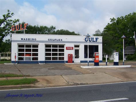 Vintage Gulf Gas Station Located In Quincy Florida On