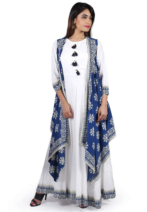 block printed cotton long flared dress  jacket