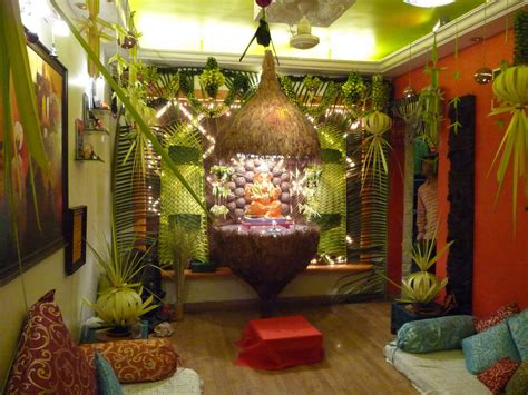 idea for home decoration ganapati decoration in living room home combo