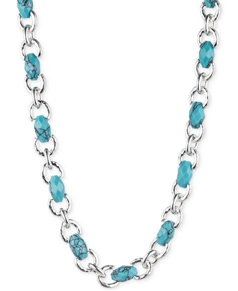 jones new york silver tone faux turquoise collar necklace