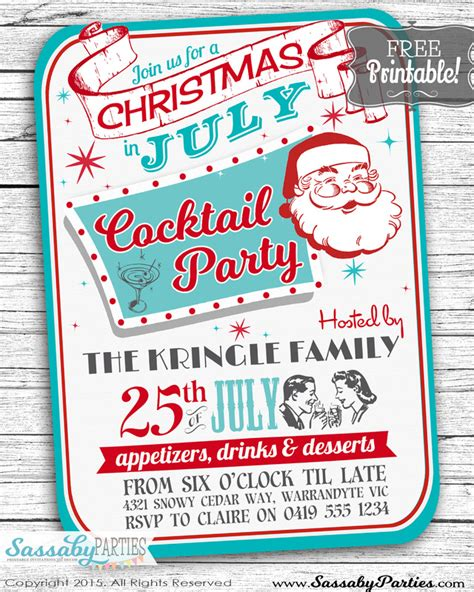 christmas in july free printable invitation the sassaby
