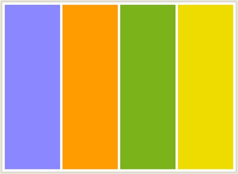 yellow color combination colorcombo98 with hex colors 8b88ff ff9c00 7bb31a eedb00