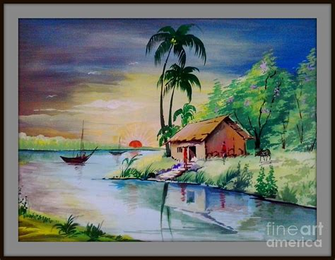 painting color sunset time poster colour painting painting by sanjay wagh