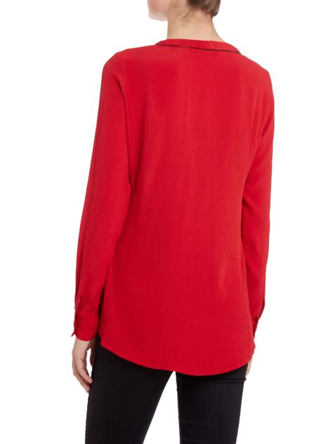 Salsa Tunic By salsa sleeve zip neck tunic blouse in lyst