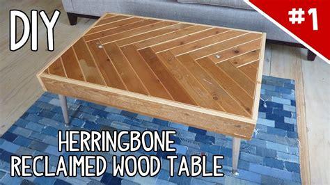 diy herringbone reclaimed wood table part    youtube