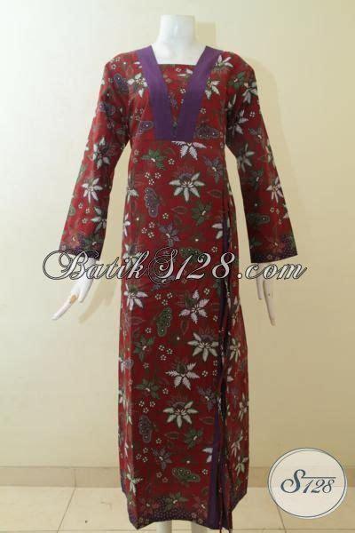 Gamis Mewah Inneke 020 Gm baju gamis batik merah marun baju batik panjang exclusive wanita berhijab batik trendy motif