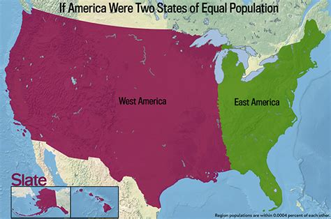 us map divided south east west if every u s state had the same population what would