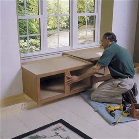 window seat stock cabinets how to build a window seat using kitchen cabinets