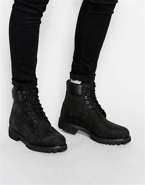 timberland classic premium boots in black for lyst