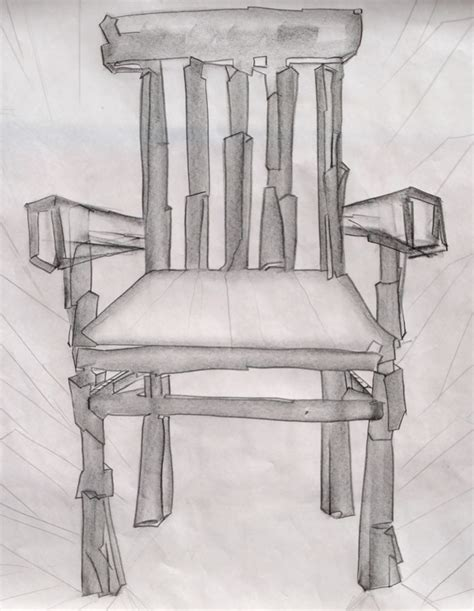 chair sketch by oracle card and painting project