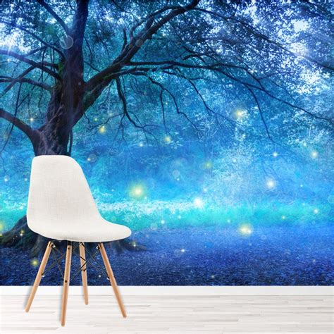 blue fairy tree wall mural fairytale forest photo wallpaper girls bedroom decor