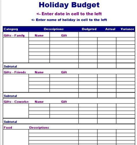 vacation budget planner template vacation planner excel calendar template 2016