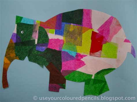 Elmer Patchwork - use your coloured pencils elmer elephants