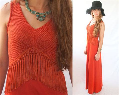Bright Fringe Maxi Dress - 1970s does 1920s flapper boho maxi dress xs s m bright