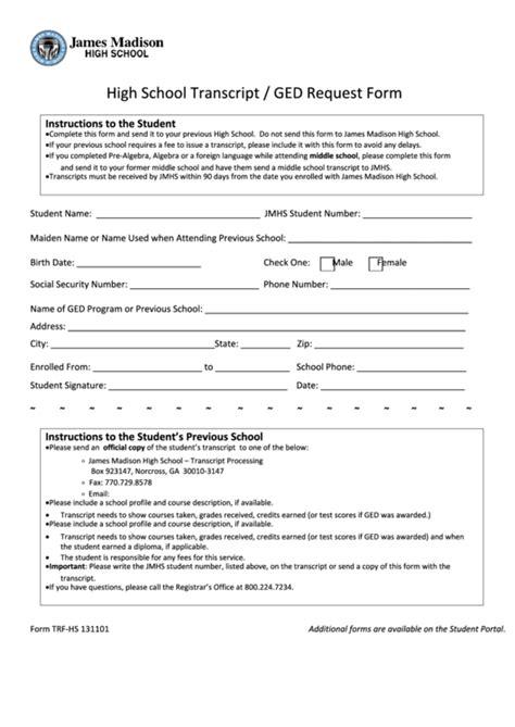 high school transcript request form template top 10 high school transcript templates free to