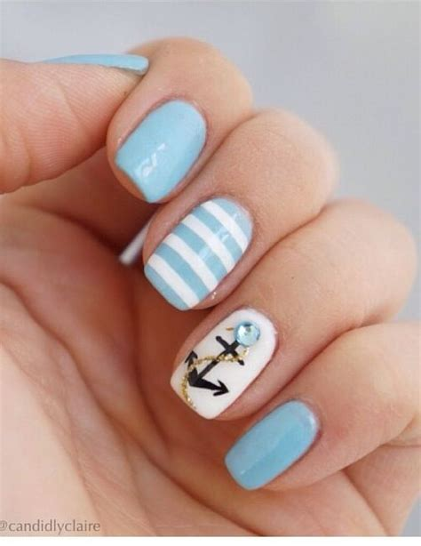 summer acrylic nail designs with anchor top 17 cute anchor strip nail designs new simple style