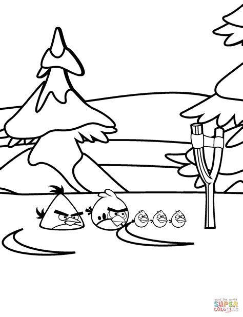 Angry Birds Winter Coloring Pages | angry birds winter battles coloring page free printable