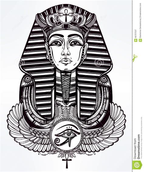 vintage tattoo vector pharaoh with winged ankh stock