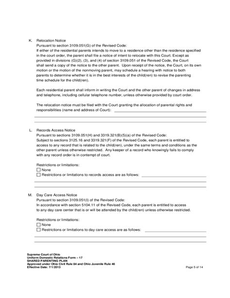 Joint Custody Parenting Plan Template by Shared Parenting Plan Free