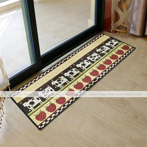country style kitchen rugs yazi cow strawberry country style home office kitchen runner mat bedside porch carpet rug