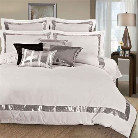 Best Linen Bedcovers Sequins King Size Duvet Quilt Cover Set 3pcs Bed