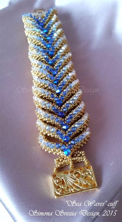 sea bead bracelets sea waves cuff bracciale su ordinazione by