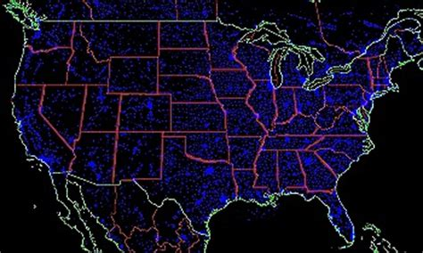 nighttime map of us what places light pollution