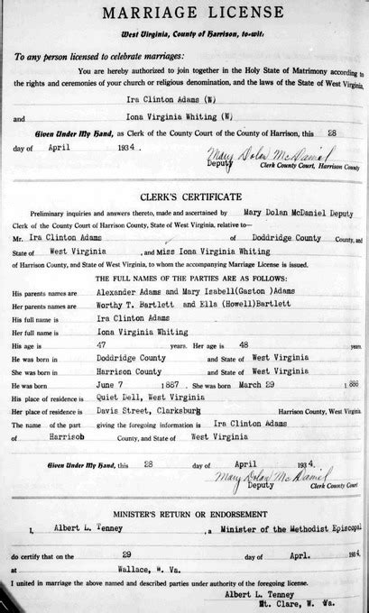 Clinton County Marriage Records Ira Clinton Sr Iona Virginia Bartlett
