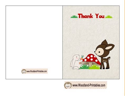 Free Thank You Card Templates Baby Shower by Free Printable Woodland Baby Shower Thank You Cards