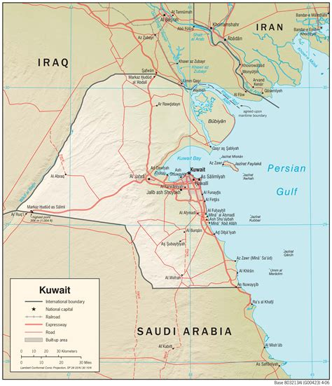 middle east map showing kuwait map of kuwait and iraq