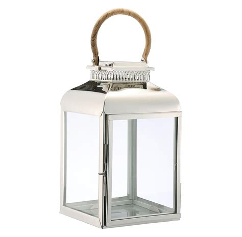 mallorca modern large silver candle lantern with wood