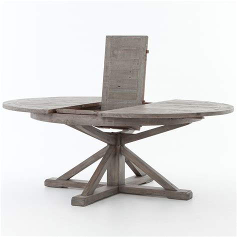 Wodden Bench Cintra Reclaimed Wood Extending Round Dining Table 63