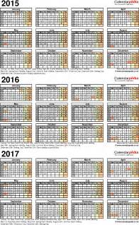 3 Year Calendar Template by Three Year Calendars For 2015 2016 2017 Uk For Excel