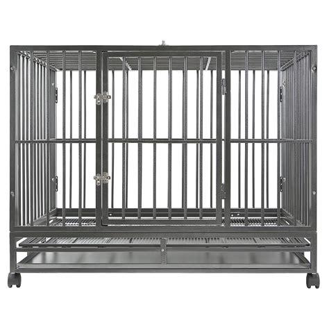 heavy duty cage crate kennel heavy duty pet cage playpen w metal tray pan ebay