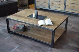table basse bois vieilli sur mesure meuble industriel