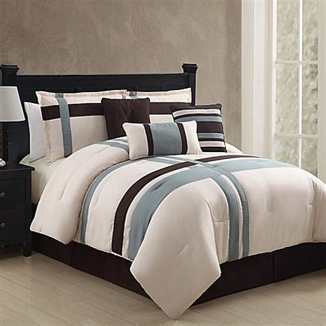 buy vcny berkley 7 piece queen comforter set in ivory blue