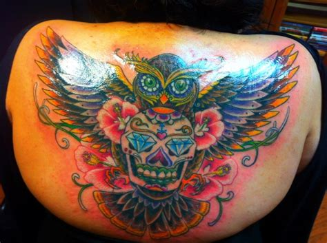 sugar skull tattoo diamond eyes meaning my very own sugar skull owl tattoo diamond eyes