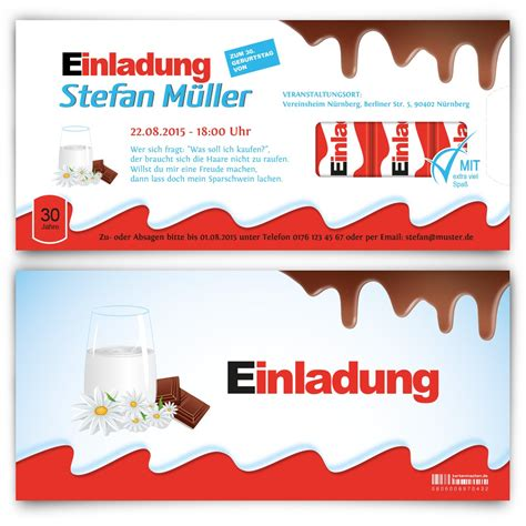 Eintrittskarten Design Vorlage Einladungskarten Zum Geburtstag Im Schokoladen Riegel Design Selbst Gestalten Und Bestellen